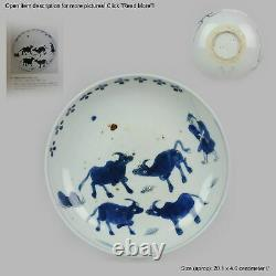 Antique Chinese ca 1600-1640 C Porcelain China Plate Cows and Shepperd