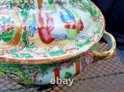 Antique Chinese export famille rose medallion porcelain tureen
