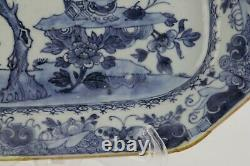 Antique Chinese platter 18th century, blue and white, large 27cm Kangxi Qing
