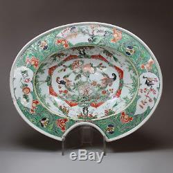 Antique Chinese porcelain famille verte barber's bowl, Kangxi (1662-1722)