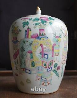 Antique Chinese porcelain ginger jar 19th C Nonya Straits Peranakan Tongzhi
