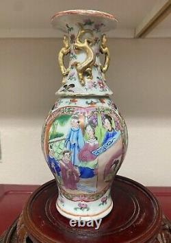Antique Chinese rose medallion porcelain vase