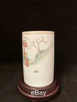 Antique Famille Rose Chinese Porcelain Brush Pot