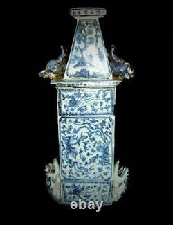 Antique Great Chinese Qing White & Blue Porcelain Signed Vase Bird Feeder Pagoda
