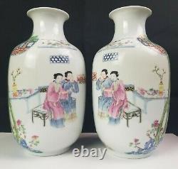 Antique Hongxian Republic Chinese Porcelain Mirror Pair Vases