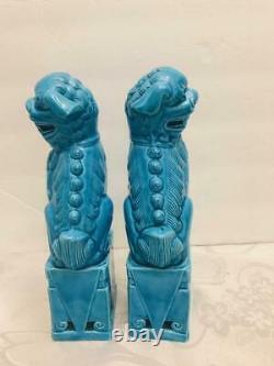 Antique Pair Chinese Porcelain Guardian Lion Foo Dogs 8 Turquoise Blue Statues