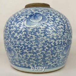 Antique Qing Chinese Chinoiserie Blue White Lotus Porcelain Ginger Jar Vase Pot