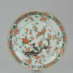 Antique Qing period Kangxi Chinese Porcelain Dish Famille Verte Bird