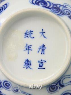 Antique Rare Chinese Porcelain Pair Bowls Blue White Guangxu Mark Period 19th