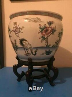 Antique/Vintage Chinese Porcelain Koi Fish Bowl Planter Flowers Crane
