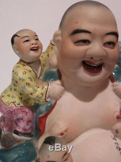 Antique Vintage Happy Buddha Children Bisque Glaze Porcelain Figurine Chinese