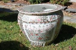 Antique huge very large Chinese Famille Rose Porcelain Fish Bowl Planter Jar 18