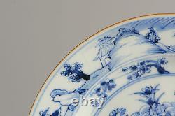 Beautiful 18C Chinese Porcelain B&W Plate Landscape & Symbols Antique