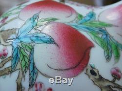 C. 19th Chinese Famille Rose Tianqiuping Nine Peaches Porcelain Vase Guangxu MK