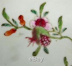 C1722-1735 Antique Chinese Yongzheng Porcelain Saucer Dish Rockwork Pomegranate