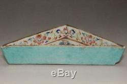 CCVP47 Chinese Antique porcelain triangle shape plate Jikkinde Qing Dynasty