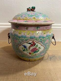 CHINESE Export Peranakan Straits Nyonya Porcelain Pot Lid Kamcheng Yellow Pink