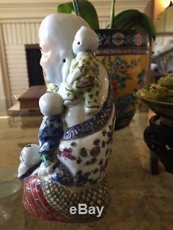 CHINESE FAMILLE ROSE PORCELAIN FIGURE OF BUDAI Zhu Yishun Zao Buddha