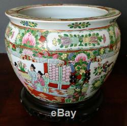 CHINESE Large Old Famelia Rose & Gold Porcelain Fish Bowl, Planter, Jardiniere