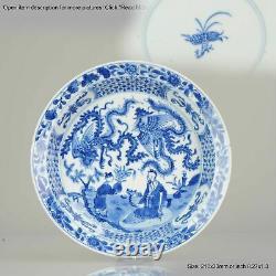 Ca 1700 Kangxi Chinese Porcelain Plate Phoenix Figures Marked Lingzhi fu
