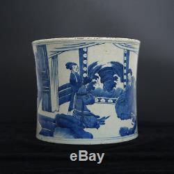 China Antique Blue And White Porcelain Figures Painting Brush Pot KangXi Marked