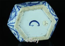 Chinese 17/18thc Kangxi Mark & Period Blue White Porcelain Silver Scholar Vase