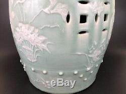 Chinese 19th Century Celadon Glaze Porcelain Garden Stool, Qing Dynasty