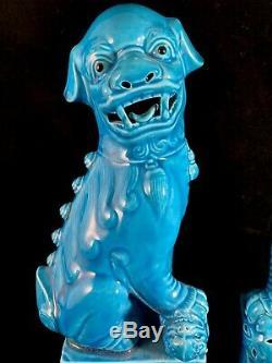 Chinese Antique Blue Porcelain Ceramic Foo Dog Statue Figurine One Pair