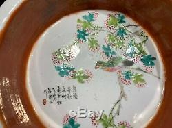 Chinese Antique Ching Dynasty Coral Red Miao Jin Porcelain Ceramic Brush Washer