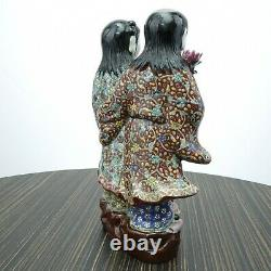 Chinese Antique Famille Rose Porcelain Boy and Girl Buddha Figure