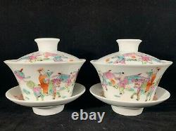 Chinese Antique Famille Rose Porcelain Teacup Pair of Kids Riding Dragon