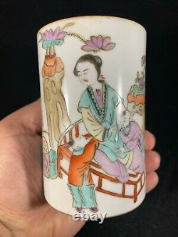 Chinese Antique Famille Rose Porcelain Vase Pen Holder With Beauty