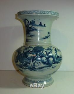 Chinese Antique Porcelain Blue & White Vase Landscape Kangxi 12.3 Tall