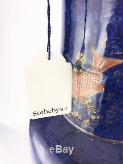 Chinese Antique Porcelain Iron Red Gilt-Decorated Powdered Blue'Fish' Vase