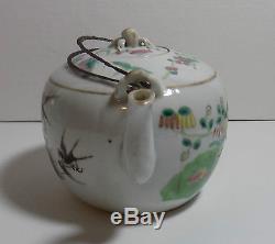 Chinese Antique Porcelain Teapot Tongzhi Mark Metal Handle Bird Butterfly Flower