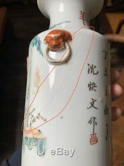 Chinese Antique famille Rose porcelain Vase China Asian