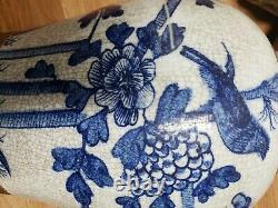 Chinese Blue White Porcelain Cracked Glaze Ginger Jar vases