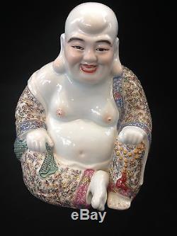 Chinese Canton Porcelain Smiling Large Buddha Man