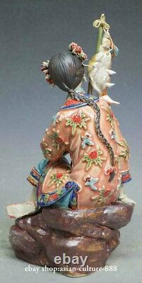 Chinese Ceramic Lady Figurine Wucai Porcelain Fish Figurine Fishing & Harvest