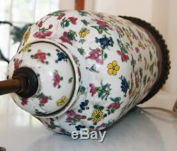 Chinese Export Famille Flower Porcelain Vase Lamp antique
