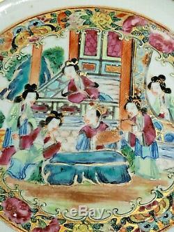 Chinese Export Porcelain Famille Rose Mandarin Plate AMAZING
