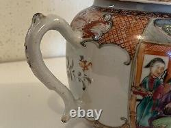 Chinese Export Porcelain ca 1750 Tea Pot Mandarin Famille Rose