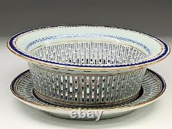 Chinese Export Porcelain fruit basket matching plate American Ship Lowestoft