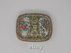 Chinese Export Rose Medallion Rose Mandarin Porcelain Soap Dish Figures Flowers