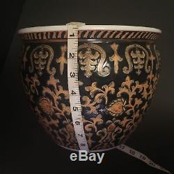 Chinese Famille Rose Bowl Noire Jardiniere Planter Fish Bowl