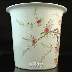 Chinese Famille Rose Porcelain Planter Flower Pot Birds Republic Period