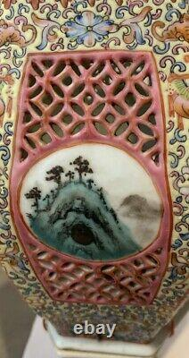 Chinese Famille Rose Porcelain Reticulated Wedding Lamp and Base