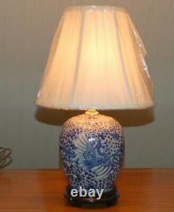 Chinese GINGER JAR LAMPS Phoenix Pair Blue & White Porcelain Tea Caddy Vases 7-O