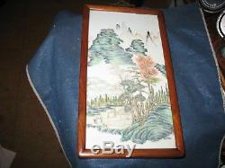 Chinese Hand Painted Porcelain Tile Framed Chinese Antique