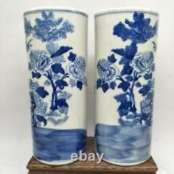 Chinese Old Blue And White Bird And Flower Pattern Porcelain Hatstand Vases